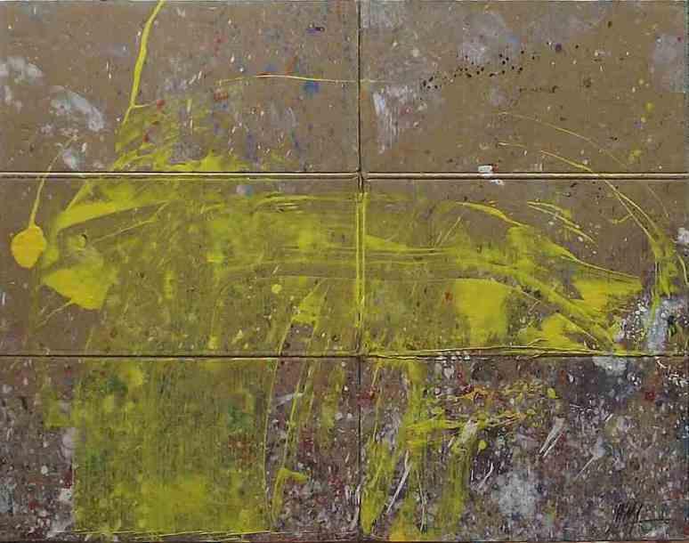 369 - Technique mélangée sur bois 116 x 89 cm