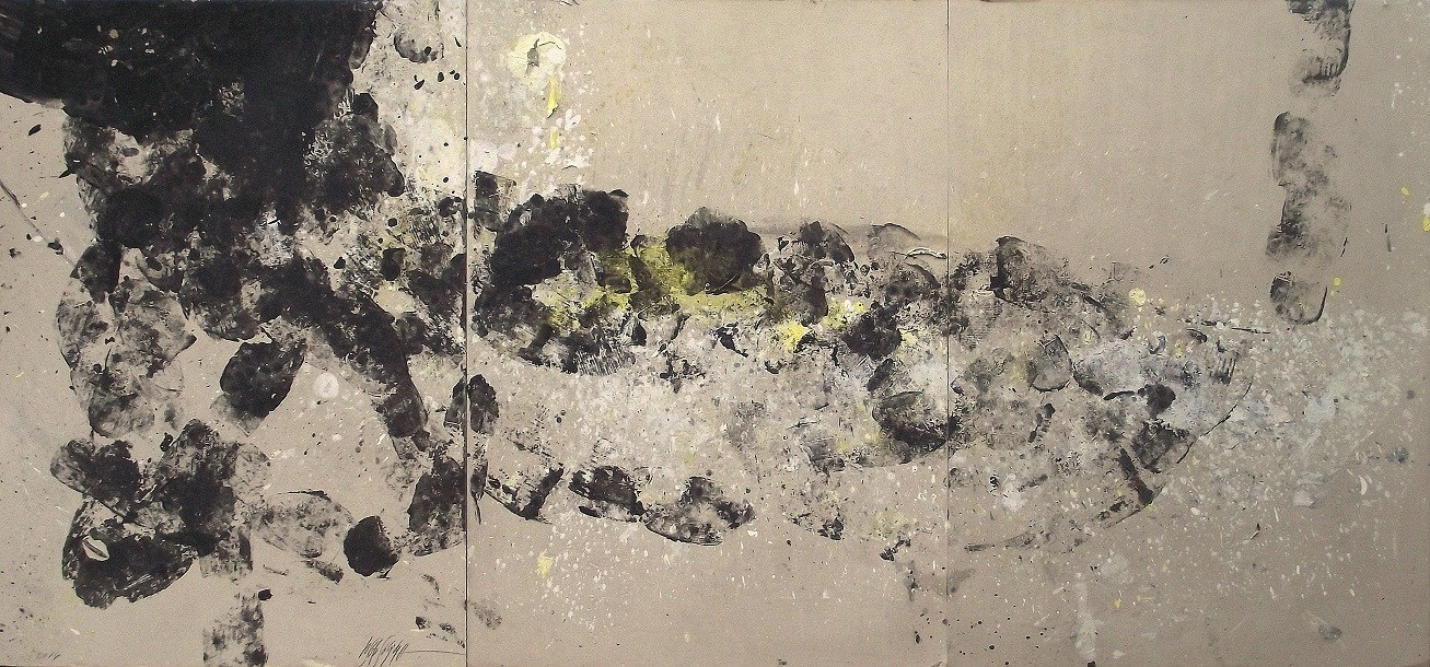 421 - Mixed technique on cardboard 105 x 225 cm